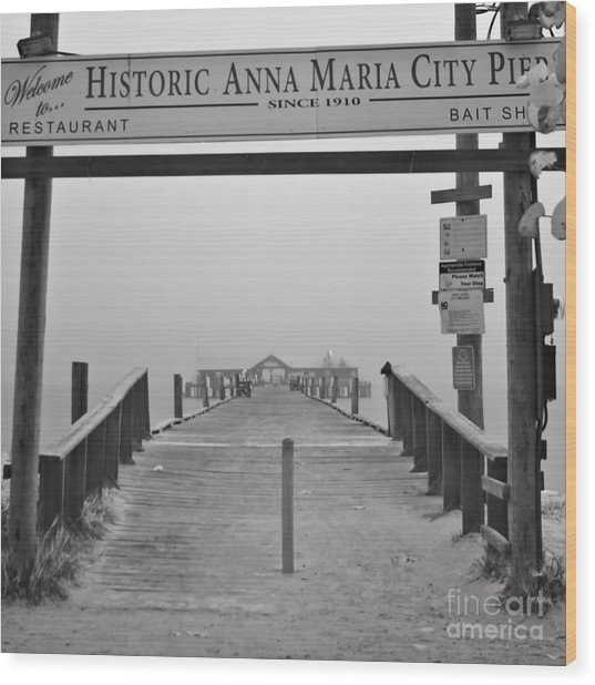 Historic Anna Maria City Pier In Fog Infrared 52 Wood Print by Rolf Bertram