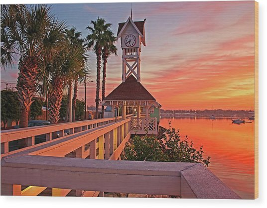 Historic Bridge Street Pier Sunrise Wood Print