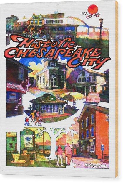 Historic Chesapeake City Poster Wood Print