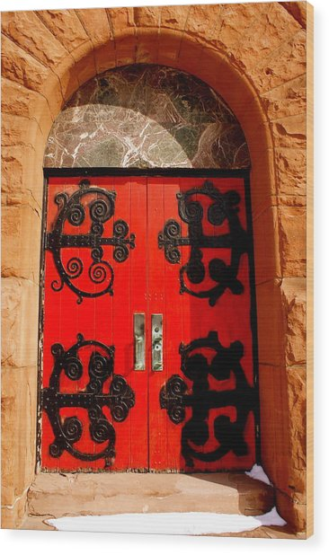Historic Church Doors Wood Print by Sonja Anderson