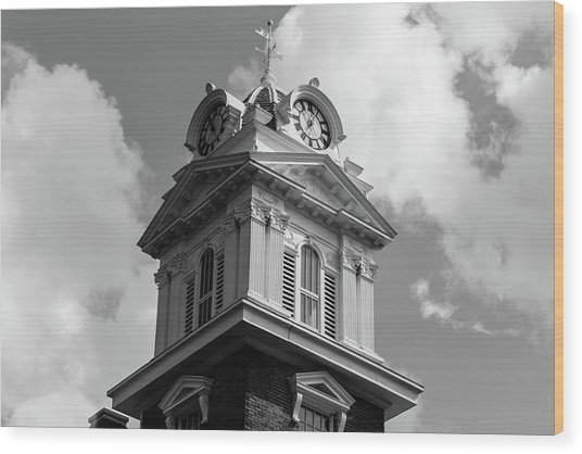 Historic Courthouse Steeple In Bw Wood Print