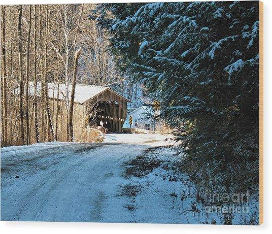 Historic Grist Mill Covered Bridge Wood Print