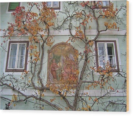 Wood Print featuring the photograph Historic House Facade In Bad Goisern Hallstatt Salzkammergut Aus by Menega Sabidussi