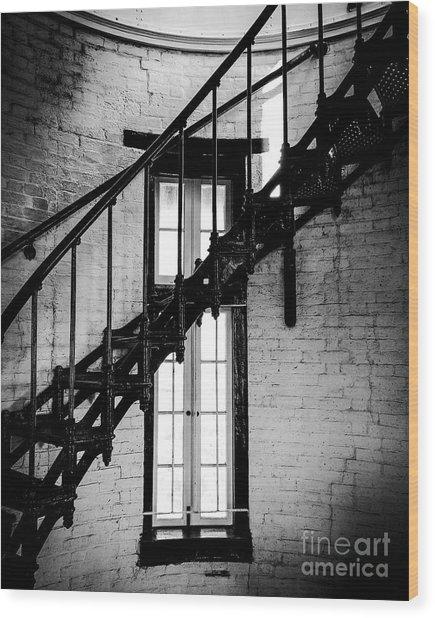 Historic Lighthouse Steps Wood Print by JMerrickMedia