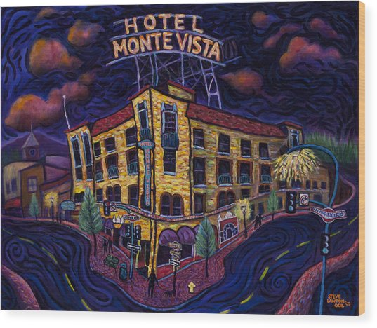 Historic Monte Vista Hotel Wood Print by Steve Lawton