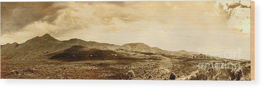 Historic Mountain Landscape In Sepia Tone Wood Print