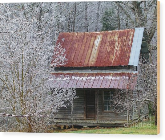 Historic North Carolina Cabin Wood Print