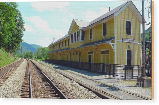 Historic Passenger Train Depot Thurmond West Virginia Wood Print