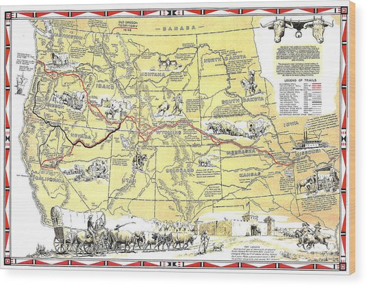 Historic Pioneer Trails Map 1843-1866 Wood Print