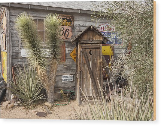 Historic Route 66 - Outhouse 2 Wood Print