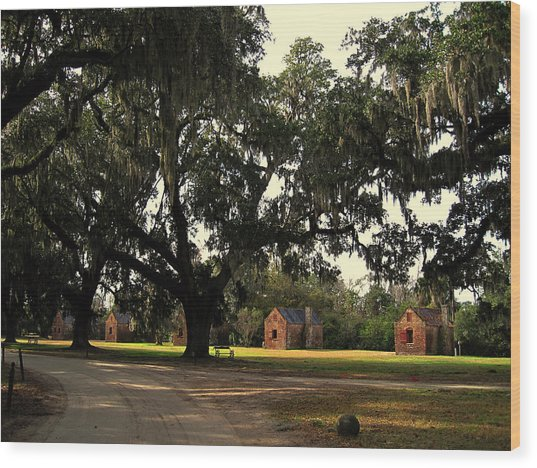 Historic Slave Houses At Boone Hall Plantation In Sc Wood Print