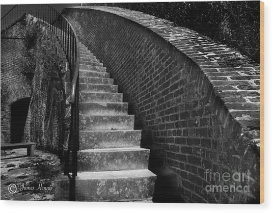 Historic Stairwelll Wood Print