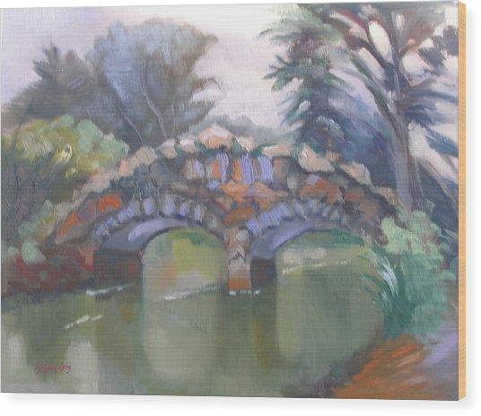 Historic Stone Footbridge From Path Wood Print