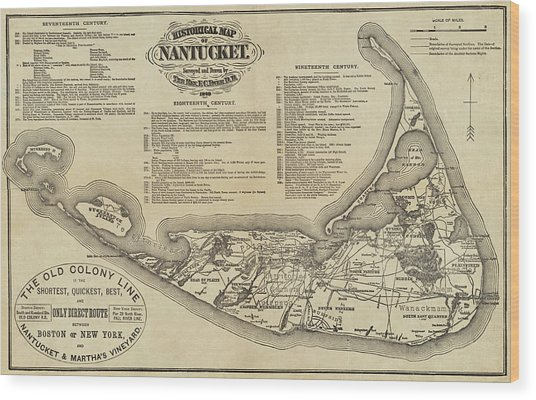 Historical Map Of Nantucket From 1602-1886 Wood Print