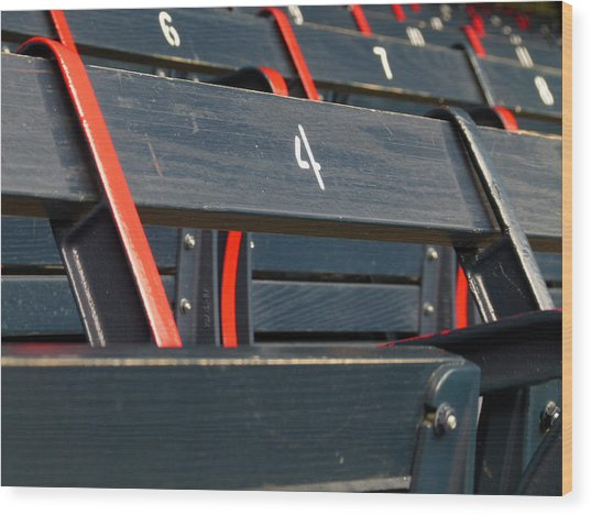 Historical Wood Seating At Boston Fenway Park Wood Print