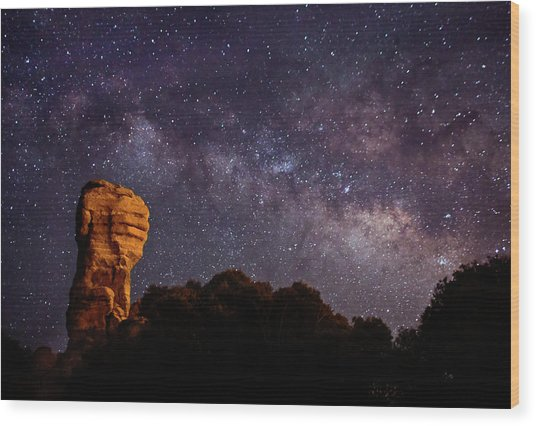 Hitchcock Pinnacle Nightscape -- Milky Way Wood Print