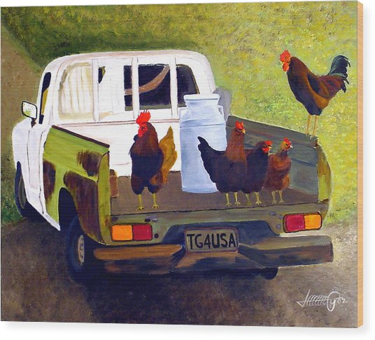 Hitchin' A Ride To Town Wood Print by JoeRay Kelley