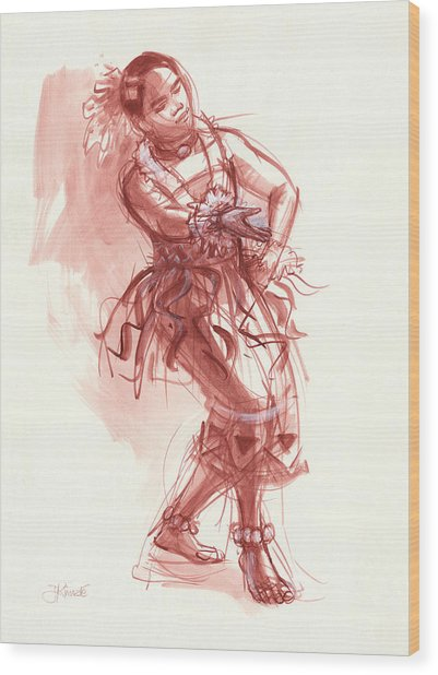 Hiva, Dancer Of Tonga Wood Print