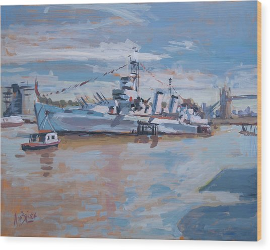 Hms Belfast Shows Off In The Sun Wood Print