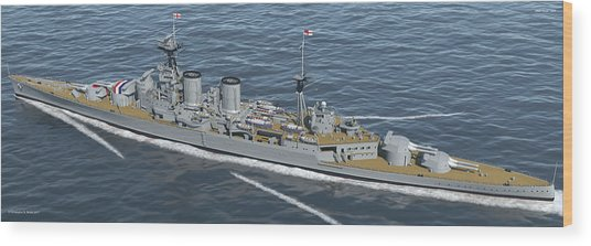 Hms Hood 1937 - Stern To Bow - Med Sea Wood Print by Christopher Snook