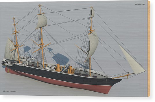 Hms Warrior 1860 - Bow To Stern Technical Wood Print by Christopher Snook