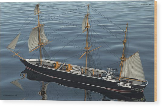 Hms Warrior 1860 - Stern To Bow Ocean Wood Print by Christopher Snook