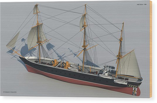 Hms Warrior 1860 - Stern To Bow Technical Wood Print by Christopher Snook