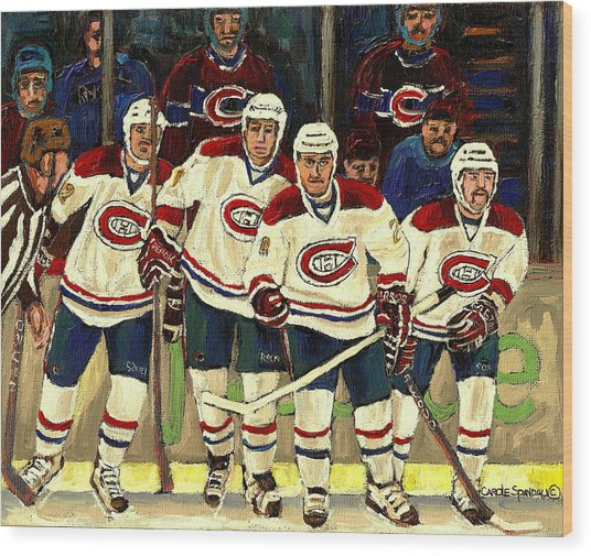 Hockey Art The Habs Fab Four Wood Print