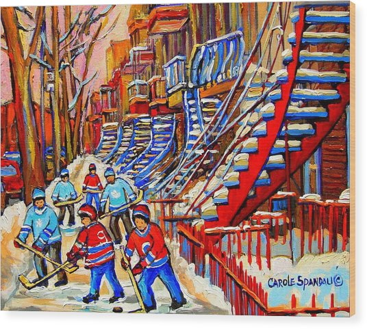 Hockey Game Near The Red Staircase Wood Print