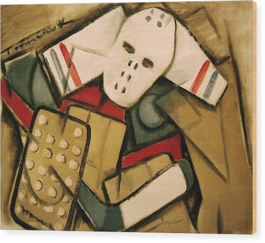 Synthetic Cubism Hockey Goalie Art Print Wood Print
