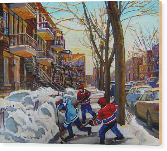 Hockey On De Bullion  Wood Print