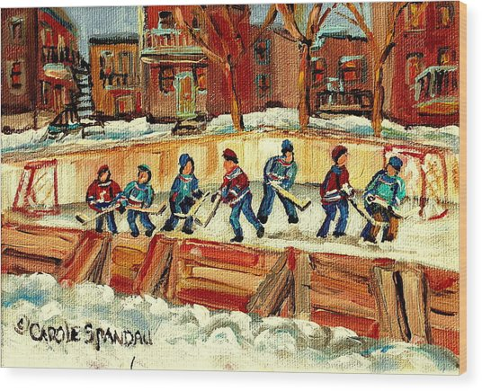 Hockey Rinks In Montreal Wood Print