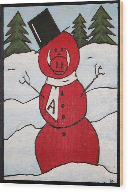 Hog Snowman Wood Print by Amy Parker