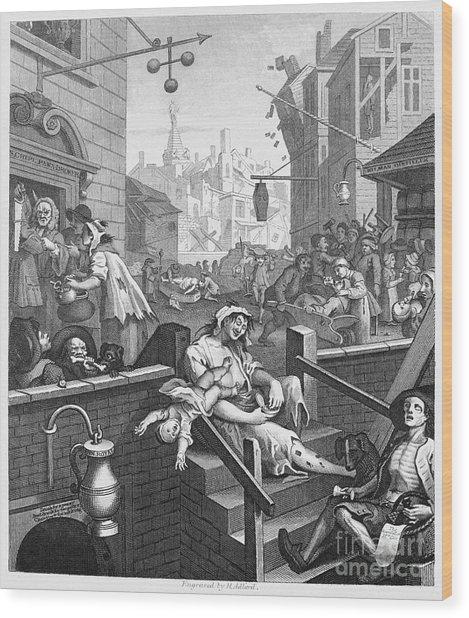 Hogarth: Gin Lane Wood Print