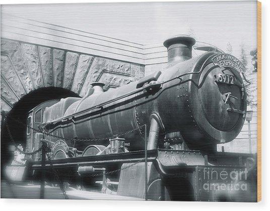 Hogwarts Express Black And White Wood Print