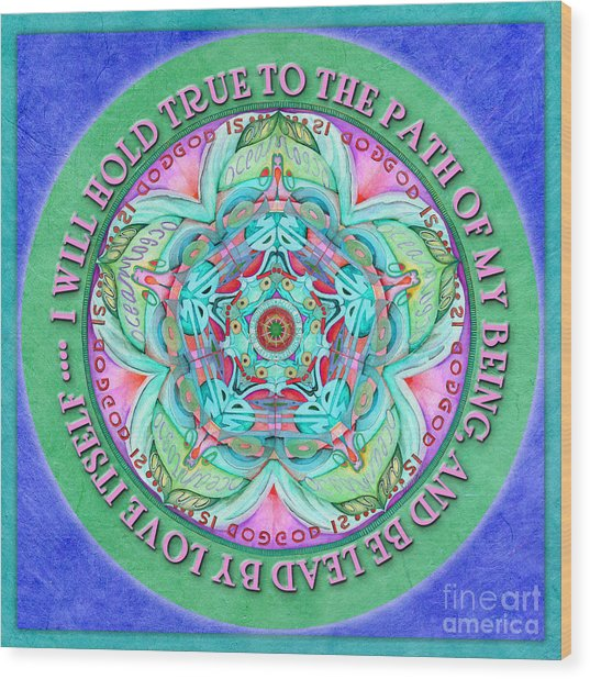 Hold True Mandala Prayer Wood Print
