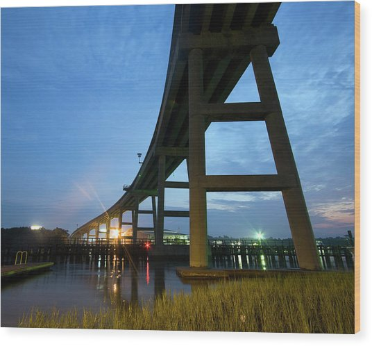 Holden Beach Bridge Wood Print