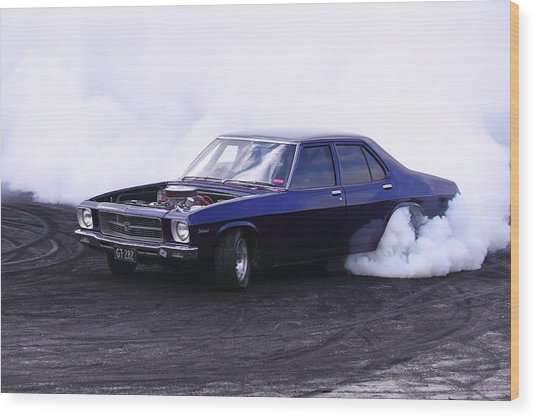 Holden Belmont With 454 Chev Doing A Burnout Wood Print by Stephen Athea