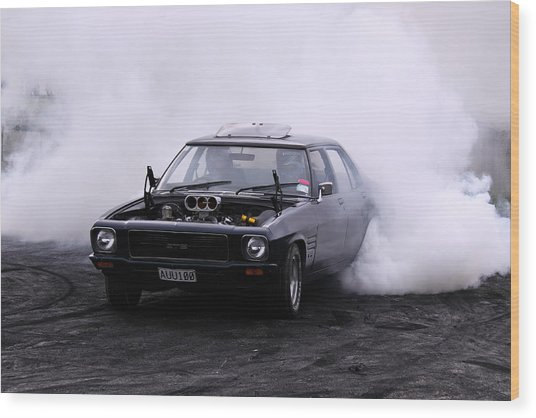 Holden Monaro Doing A Burnout Wood Print by Stephen Athea