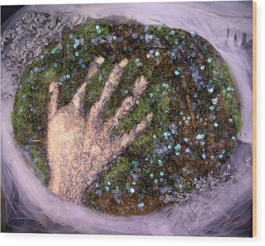 Holding Earth From The Series Our Book Of Common Faith Wood Print by Stephen Mead