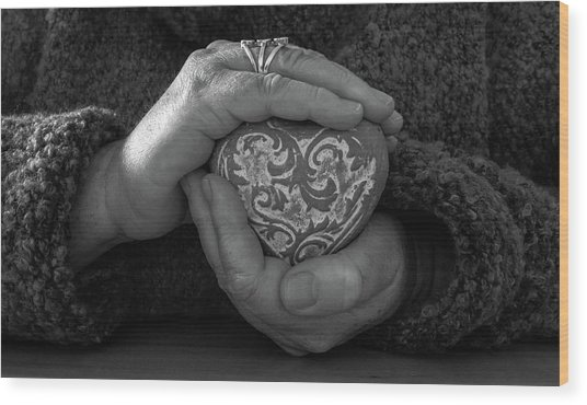 Holding My Heart In My Hands Wood Print