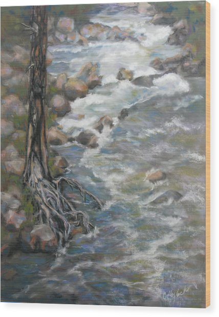 Holding The Edge Wood Print by Carole Haslock