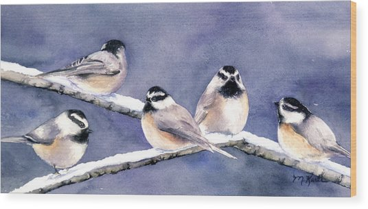 Holiday Chickadees Wood Print