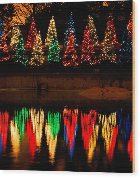 Holiday Evergreen Reflections Wood Print