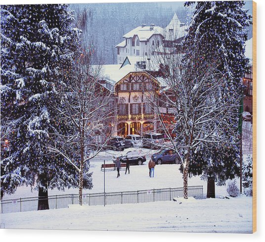 Holiday In The Village Wood Print