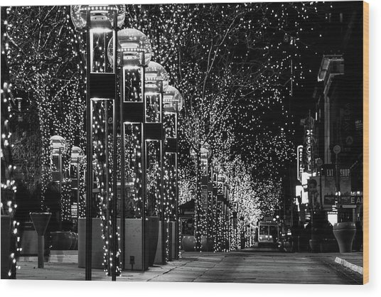 Holiday Lights - 16th Street Mall Wood Print