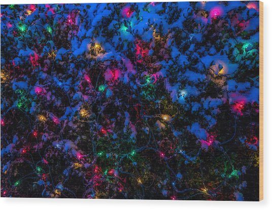 Holiday Lights In Snow Wood Print