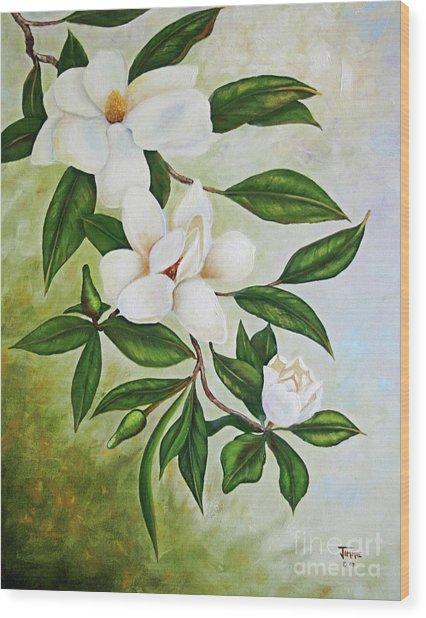 Holiday Magnolias Wood Print