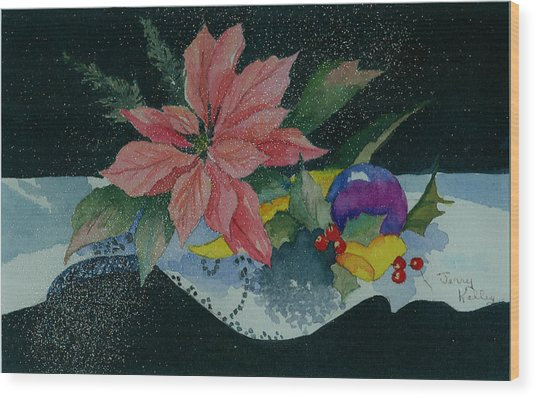 Holiday Poinsettia Wood Print