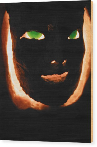 Holloween Mask Wood Print by Mark Stevenson
